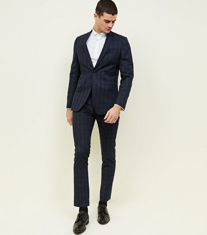 90dcb0f9753e Navy Check Slim Fit Trousers   New Look