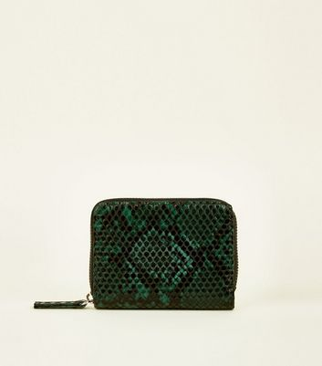 Dark Green Faux Snake Zip Around Card Holder
