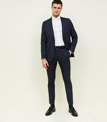 Navy Check Slim Fit Blazer