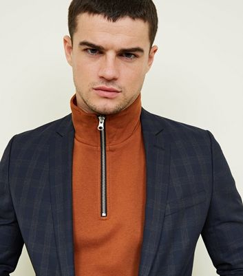 shop for Men's Navy Check Slim Fit Blazer New Look at Shopo