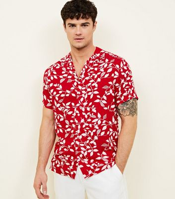 Red Leaf Print Short Sleeve Shirt