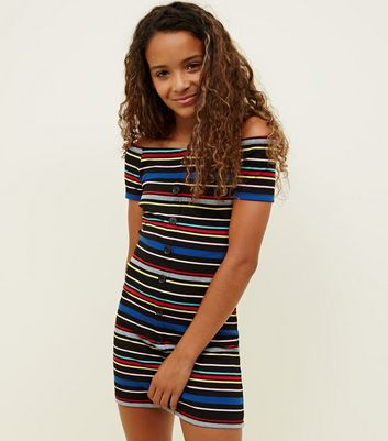 Girls Rainbow Stripe Button Front Bodycon Dress