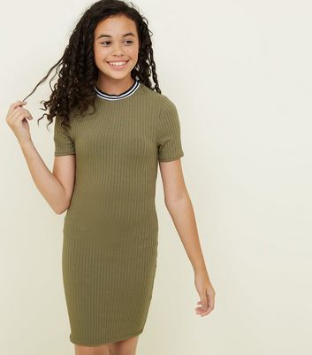 Girls Khaki Ribbed Stripe Neck Bodycon Dress