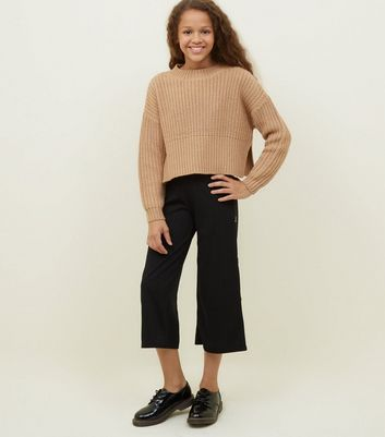Girls Black Faux Horn Button Side Ribbed Culottes
