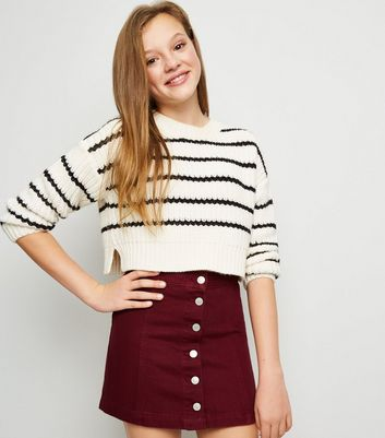 Girls Burgundy Denim Button Front Skirt