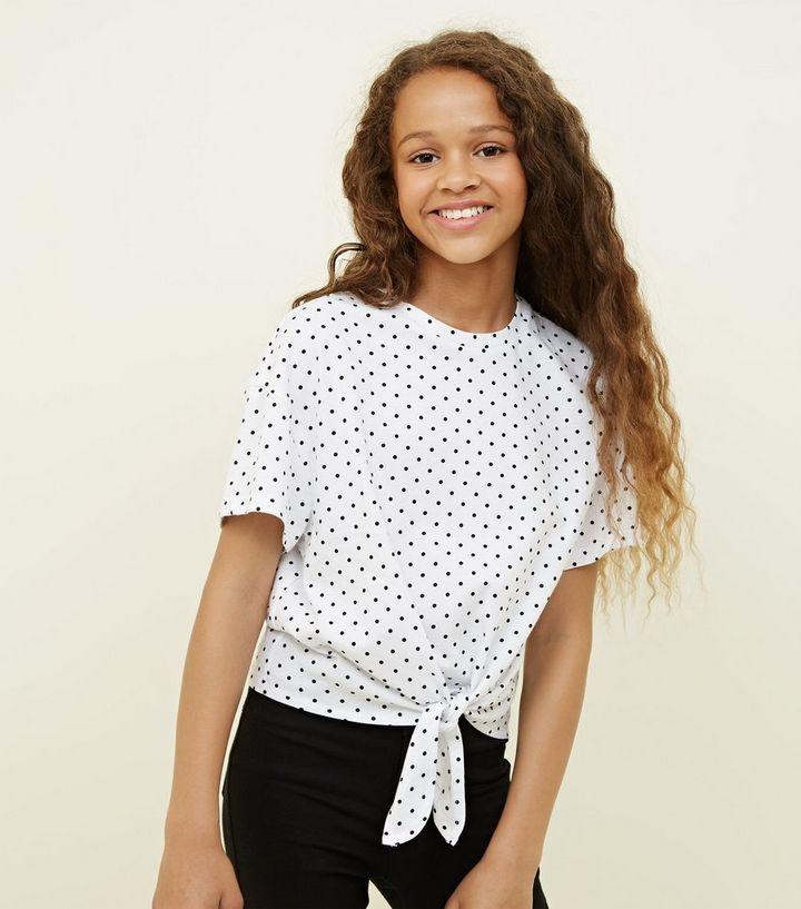 c3cbb748237015 Girls White Polka Dot Tie Front T-Shirt | New Look