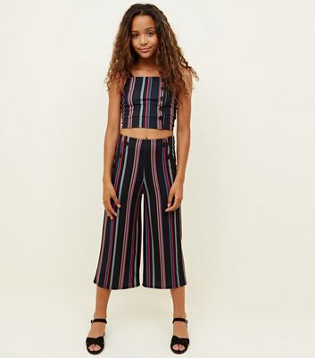 Girls Black Rainbow Stripe Button Front Culottes