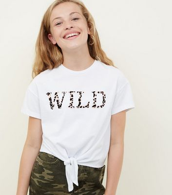 Girls White Wild Leopard Print Slogan T-Shirt