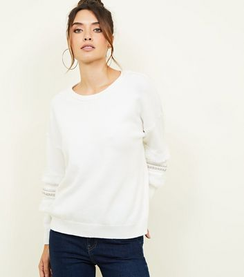 White Embellished Tape and Faux Fur Sleeve Detail Jumper