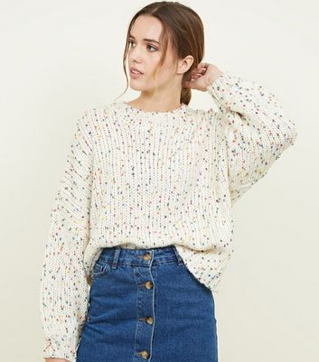 White Nep Knit Slouchy Oversized Jumper
