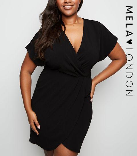6c4f8a07eb ... Mela Curves Black Wrap Dress ...