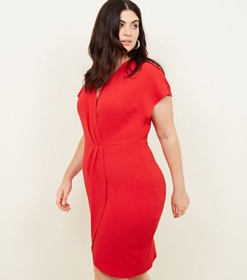 Mela Curves Red Wrap Front Dress
