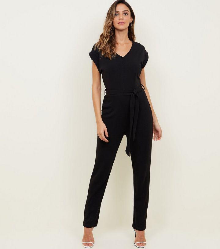 03c167c2396 Mela Black V-Neck Cap Sleeve Jumpsuit