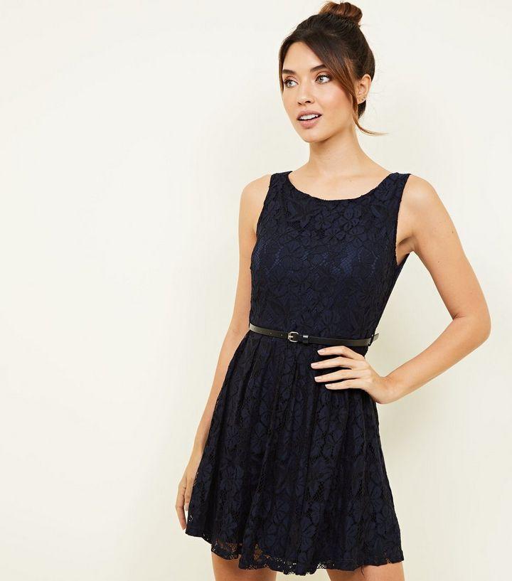 d534d04fcf4 Mela Navy Lace Belted Skater Dress