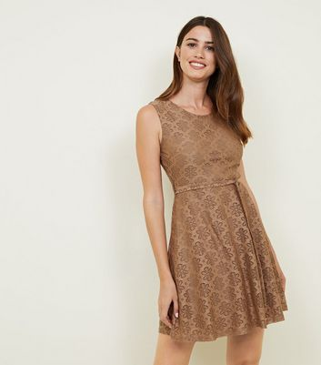 Mela Brown Floral Lace Belted Skater Dress