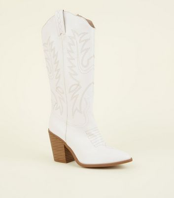 White Limited Edition Knee High Western Boots by New Look