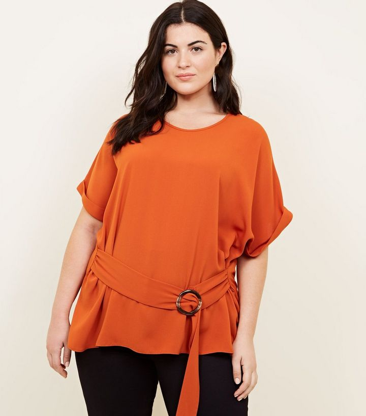 a460d1fc0b0 Curves Orange Ring Buckle Side Tunic Top | New Look