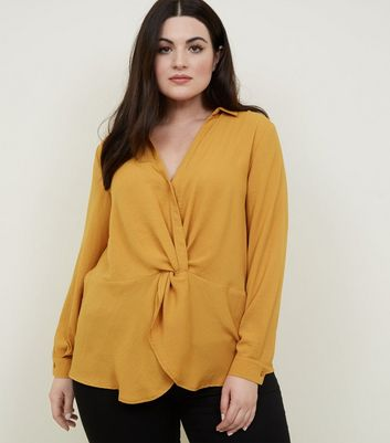 Curves Mustard Twist Front Shirt