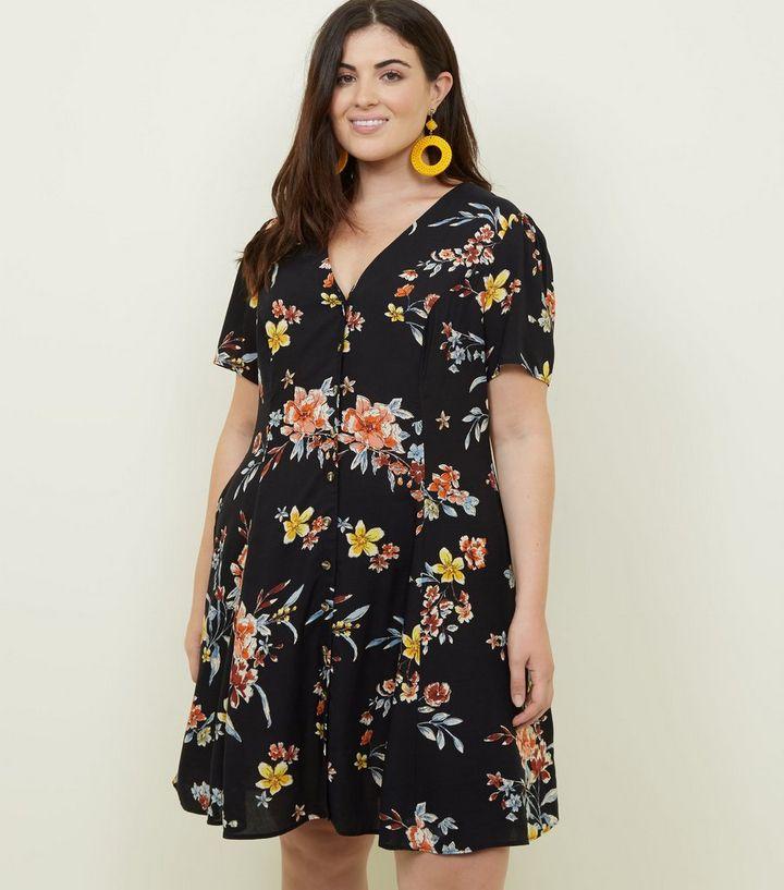 6cc12453eae Curves Black Bright Floral Button Front Tea Dress