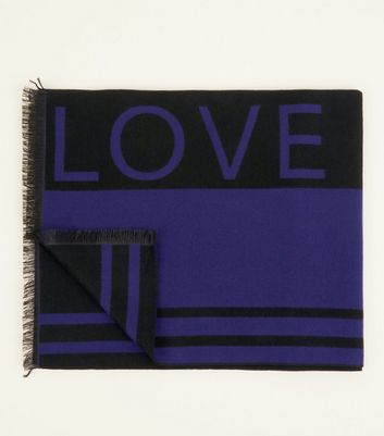 Blue Love Slogan Scarf