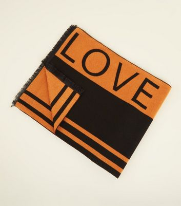 Orange Love Slogan Scarf
