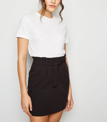 Black Tie Waist Paperbag Mini Skirt