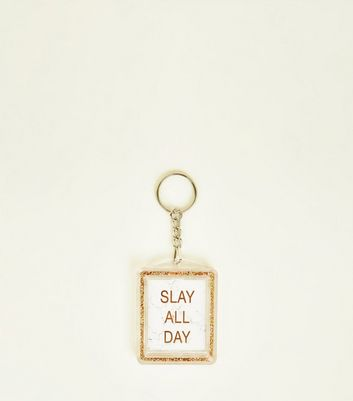 Multicoloured Slay All Day Frame Keyrings