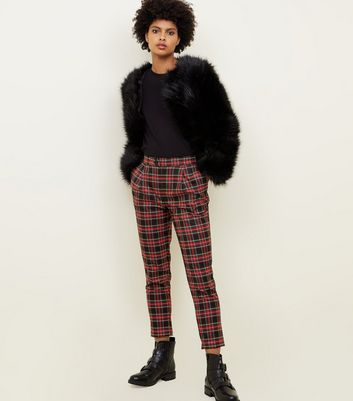 Black and Red Check Tapered Trousers