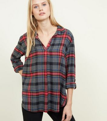Grey and Red Check Overhead Shirt
