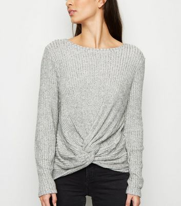 Grey Brushed Rib Twist Front Top