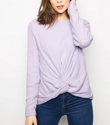 Lilac Brushed Rib Twist Front Top