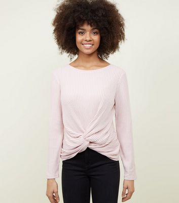 Pale Pink Brushed Rib Twist Front Top