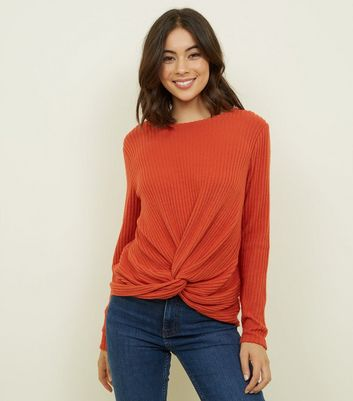 Orange Brushed Rib Twist Front Top