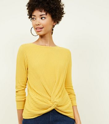 Mustard Brushed Rib Twist Front Top