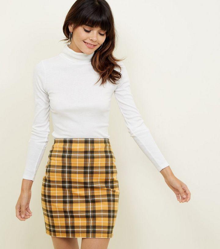 feff3c1a1 Mustard Check Mini Skirt | New Look