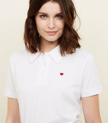 White Heart Embroidered Polo Shirt
