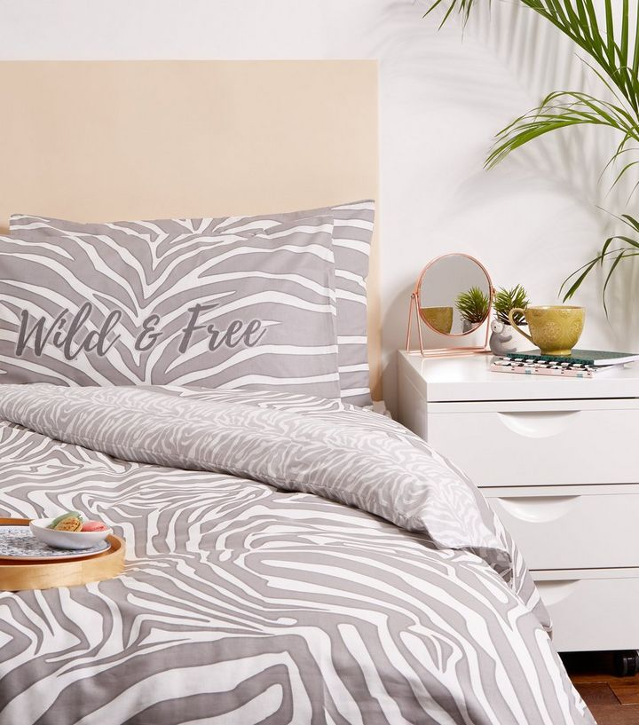 Grey Zebra Print Cotton Double Duvet Set Add To Saved Items Remove From Saved Items