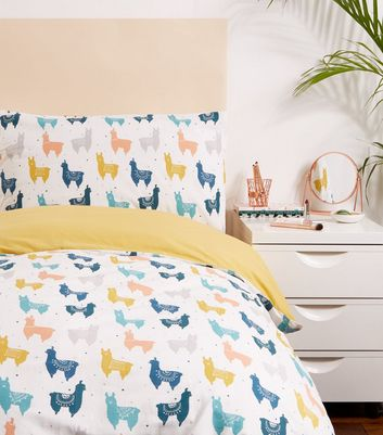 Multi Colour Llama Print Single Bedding Set