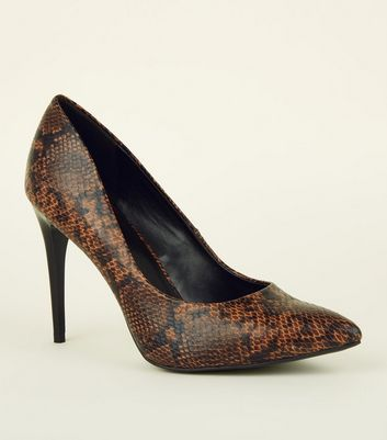 Brown Faux Snakeskin Pointed Court Shoes