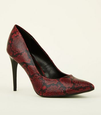 Red Faux Snakeskin Pointed Court Shoes