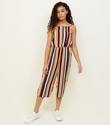 Girls Multi Coloured Stripe Button Front Jumpsuit