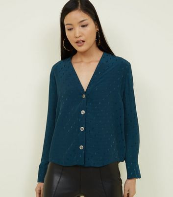 Dark Green Jacquard Spot V-Neck Shirt