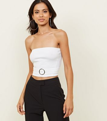 White Buckle Front Bandeau