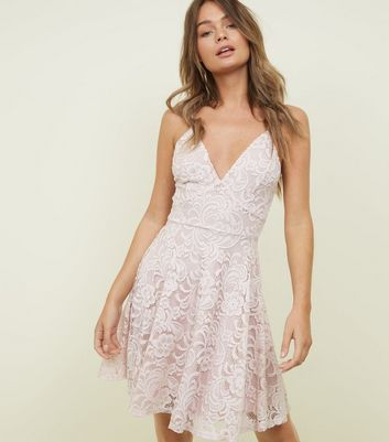 Pale Pink Lace V Neck Skater Dress