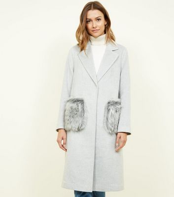 Grey Faux Fur Pocket Longline Coat