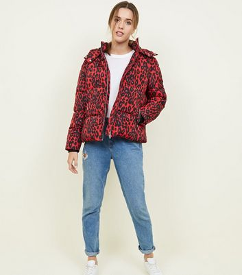 Red Leopard Print Hooded Puffer Jacket