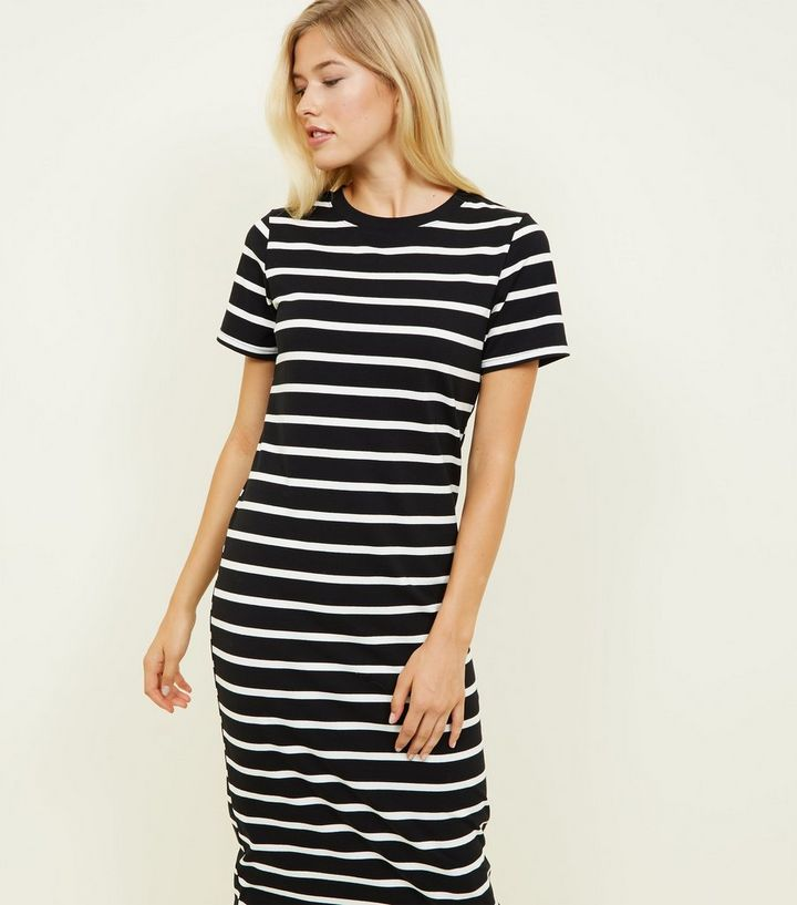 a3d7723aeb50a Black Stripe Midi T-Shirt Dress | New Look