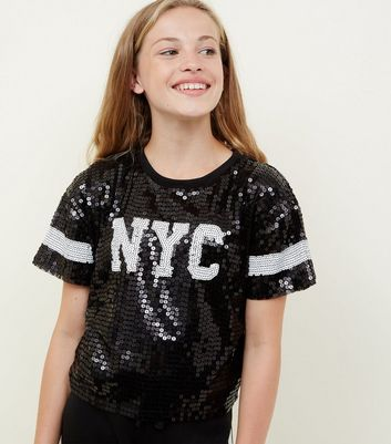 Girls Black Sequin New York Sleeve Stripe T-Shirt