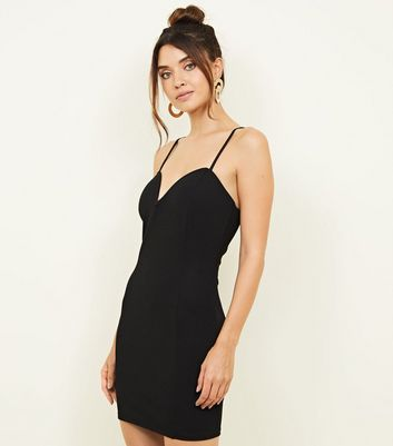 Black Notch Neck Bodycon Dress