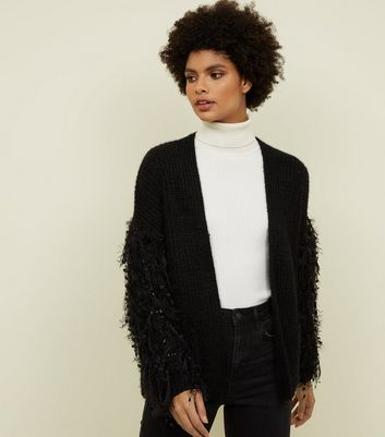 Black Fringe Sleeve Fluffy Cardigan